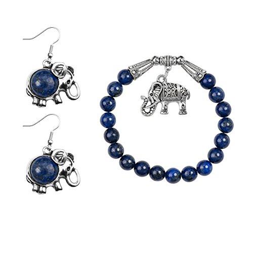 Lova Jewelry Elephant Pendant Navy Blue Beads Silver Tone Metallic Earrings Bracelet Set