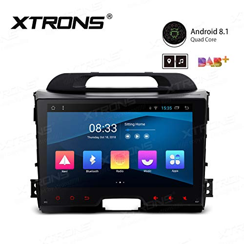 XTRONS 9 inch Touch Display Android 8.1 Quad-Core Car Stereo Radio Navigator GPS with Bluetooth 5.0 USB Port Full RCA Output Supports DVR 4G 3G OBD TPMS Backup Camera for Kia Sportage