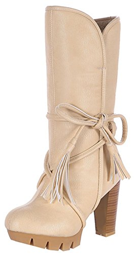 High With Boots Mid Round Women's Pull Toe On Calf Easemax Heels Block Fashion White qwAvxS