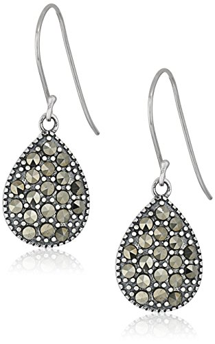 Sterling Silver Marcasite Pear Shape Drop Earrings