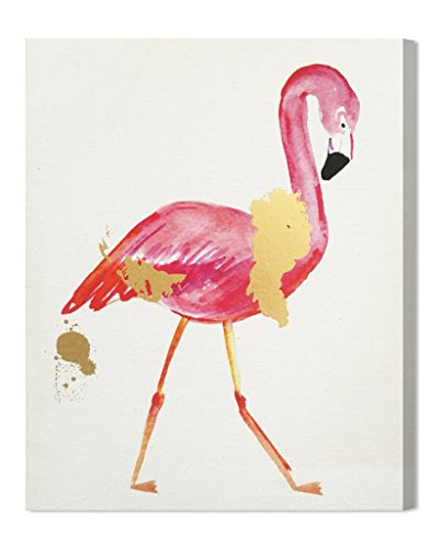 Price comparison product image Wynwood Studio 14071.CHCANV_16x20 Glam Flamingo Painting Print on Wrapped Canvas Wall Art,  Gold; Pink,  16x20