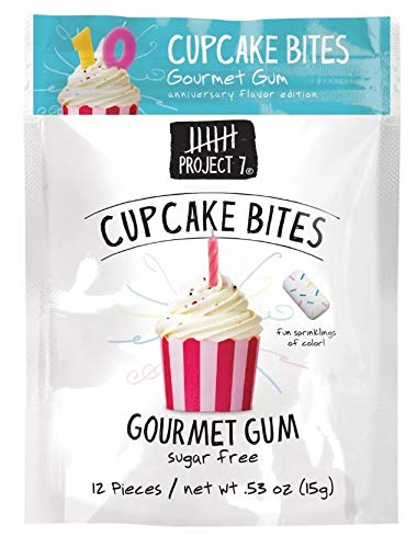 Project 7 Sugar Free Gourmet Gums Variety of Flavors 3 Pack, 0.53 oz each (Cup Cake Bites)