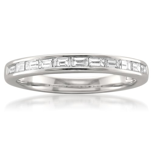 (14k White Gold Baguette Diamond Bridal Wedding Band Ring (1/2 cttw, I-J, VS2-SI1), Size 5.5)