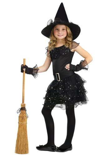 Fun World Glitter Witch Costume, Small 4-6, Black