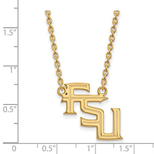 - Jewelry Stores Network Florida State Seminoles School FSU Letters Pendant Necklace Gold Plated Silver L - (19 mm x 20 mm)