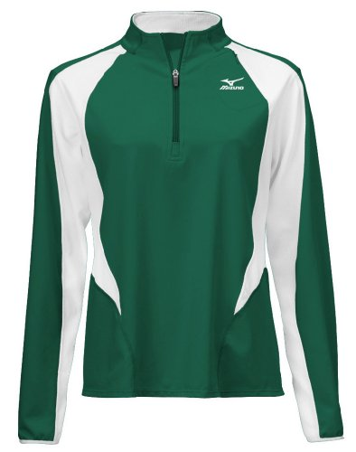 Mizuno Women's Nine Collection 1/2 Zip Long Sleeve Pullover, Forest-White, (Mizuno White Pullover)