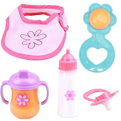 Mommy & Me Baby Doll 5Piece Feeding Set - Includes A Magic Disappearing Milk Bottle & Sippy Cup ()
