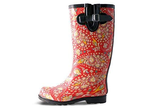 Nomad Women's Puddles Rain Boot Red/Yellow Paisley