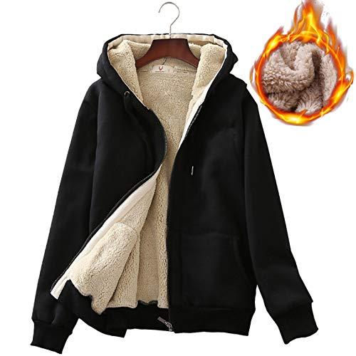 Warm Thick Sherpa Lined Full Zip Hooded Sweatshirt Jacket Outerwear (X-Large, Black) ()
