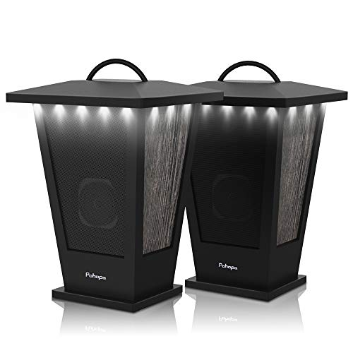 Bluetooth Speakers Waterproof, Pohopa 2 Packs True Wireless Stereo Sound 20W Speakers Dual Pairing Lantern Indoor Outdoor Speakers with 20 Piece LED Lights, Rich Bass, Pinao Black