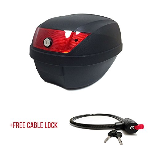 Motorcycle Scooter Top Box Tail Trunk Luggage Box - 24 Lt Capacity - Can Store One (1) Helmet (807) +FREE Security Cable Lock 70