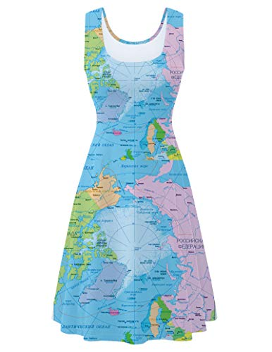 Fanient Womens Sleeveless Dress Casual Print Scoop Neck Sundress A Line Midi Dresses