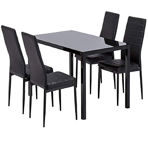 mecor Dining Table Set, 5 Piece Kitchen Table Set with Glass Table Top 4 Leather Chairs Dinette (Black),mecor