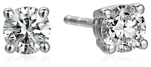 18k White Gold, Round-Cut, Diamond 4-Prong Studs (1/2 cttw, H-I Color, SI1-SI2 Clarity)