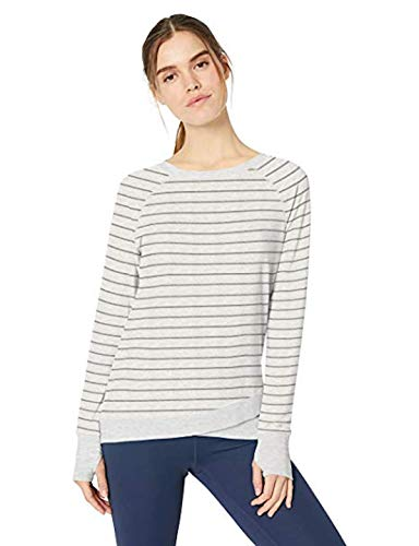 Danskin Women's Crisscross Tunic Pullover Sweatshirt (Cream Heather/Grey Stripe, - Womens Pullover Danskin