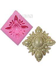 Anyana diamond cabochon jewel brooch broach gem silicone pearl mould cake Fondant gum paste mold for Sugar paste wedding party cupcake decorating topper decoration sugarcraft decor
