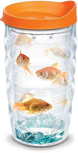 Tervis 1070379 Goldfish Insulated Tumbler with Wrap and Orange Lid, 10oz Wavy, Clear