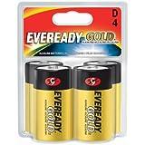 Eveready Gold Alkaline Batteries D, 4 Pack