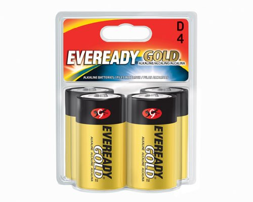 Eveready Gold Alkaline Batteries D, 4 Pack
