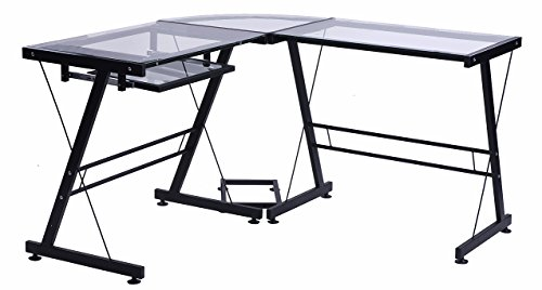 "Merax 49"" L-shaped Office Home Computer Desk Black Glass Top with Metal Legs 3-Piece Corner Desk PC Laptop Table..."