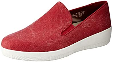 FITFLOP Womens Superskate Canvas Loafers,Classic Red,8