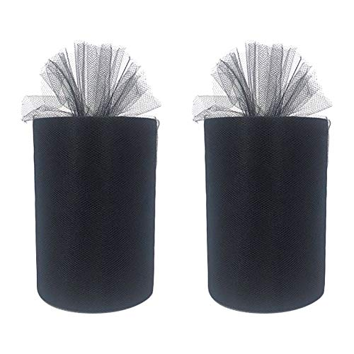 Pack of 2 Rolls Tulle Fabric Spool Roll 200 Yards(600 feet) for Wedding Party Decorations Table Skirts,6 Inch x 100 Yards Each (Black)