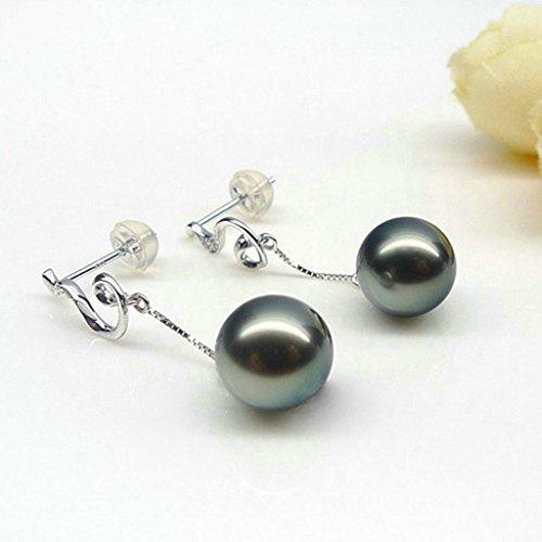Aooaz Femmes Argent Boucles d'Oreilles Noir Pearl Élégant Boucles d'Oreilles Pendantes