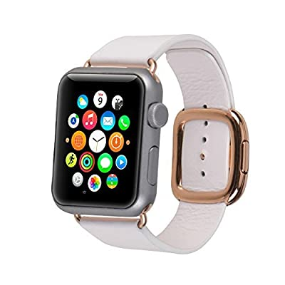 EvenLai Modern Buckle Genuine Leather Band for Apple Watch Band 38mm 42mm with Magnetic Design Replacement Strap for iWatch Series1 and 2