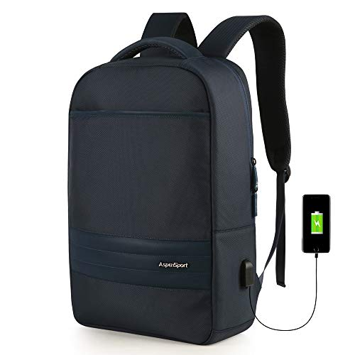 ASPENSPORT Slim Laptop Backpack Fit 15.6 inch Business Travel Computer Bag with USB Charging Port & Luggage Strap Water Repellent Daypack for Men & Woman Navy ()