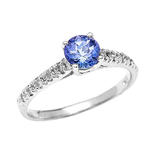 Bague Femme/ Bague De Fiançailles Elégant 14 Ct Or Blanc Diamant Et Tanzanite