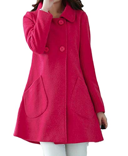 Double Breasted A-line Coat - Hokny TD Womens Winter Warm Double Breasted A-Line Swing Wool Trench Pea Coat 1 XL