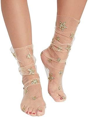 1 Pairs Women Glitter Star Soft Mesh Sock Transparent Elastic Sheer Ankle Sock