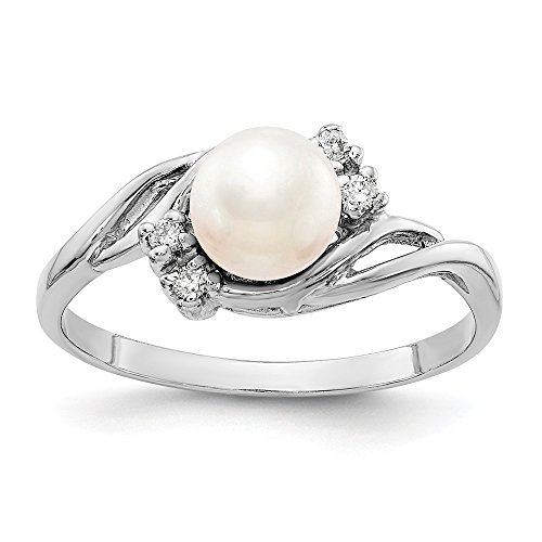 Size 4 - Solid 14k White Gold 6mm FW Cultured Pearl AA Diamond Ring ()