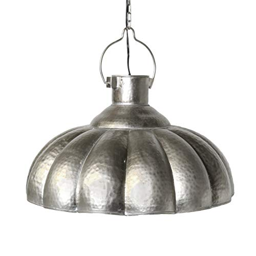 Hammered Silver Pendant Light in US - 8