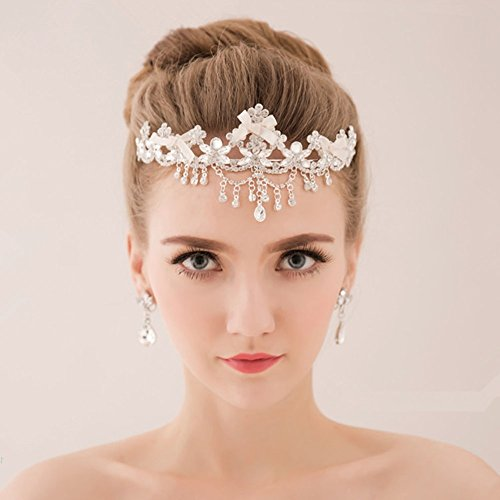 Bella-Vogue -Flowers tassel diamond wedding tiara crown-NO.243