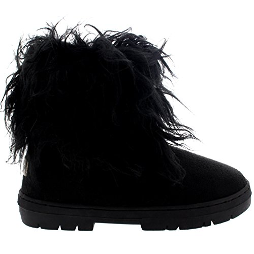 Mujer Largo Pelaje CoveRojo Lluvia Forrada De Piel Invierno Impermeable Short Nieve Botas Negro