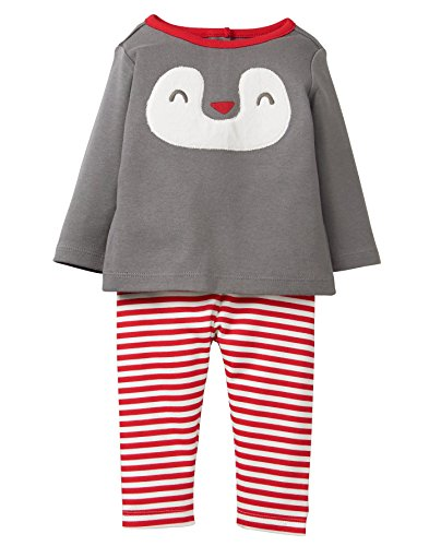Gymboree Girls Baby Long Sleeve Holiday Set, Panda Grey Candy Cane 6-12 mo