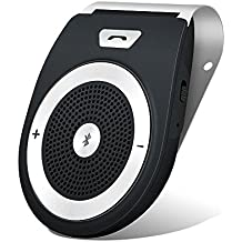 Bluetooth Car Kit HandsFree, Aigital Wireless Motion AUTO POWER ON Speakerphone Upgraded Speaker Audio Receiver Sun Visor Music Player Adapter Built-In Mic with Car Charger - Black