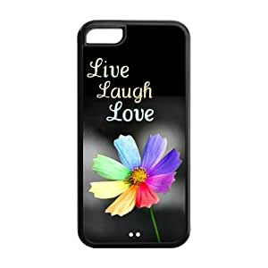 Custom Your Own Cute Quote Pattern Live Laugh Love Silicon iPhone 5C Case , Best Durable Live Laugh Love iPhone 5C Case