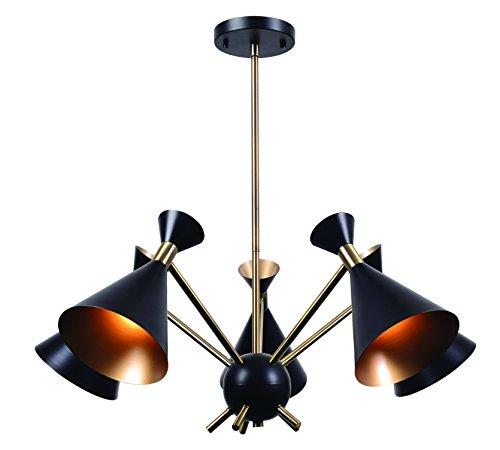 Kenroy Home Arne 5 Light Chandelier, Matte Black with Antique Brass Finish ()