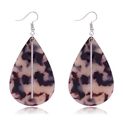 Teardrop Acrylic with Bar Accent Earrings, Acetate Earrings, Statement Earrings, Celluloid Earrings, Geometric Earrings, Tortoise Earrings