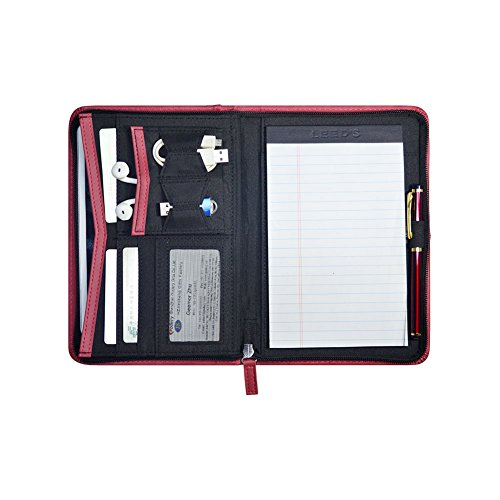 Godery Padfolio/Portfolio, Leather Zippered Padfolio Portfolio Binder 5 x 8 Legal Writing Pad, Professional Business Portfolio for Men & Women, Card Holder, Notepad Clipboard Holder (Red) by Godery