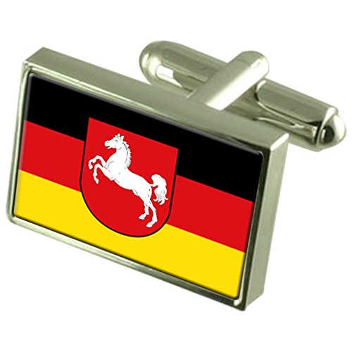 Lower Saxony Civil Sterling Silver Flag Cufflinks in Engraved Personalised Box by Select Gifts