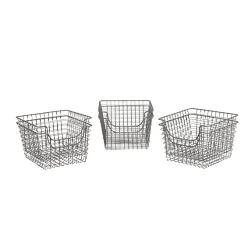 Spectrum Diversified Scoop Wire Storage Basket, Medium, Industrial Gray, 6-Pack