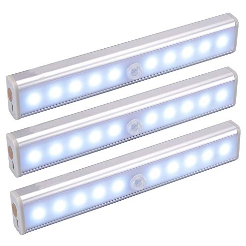 Staron  New Motion Sensor Lights, 10-LED DIY The Human Body Infrared Sensor Light Stick-on Anywhere Charging Operated Portable Wireless for Cabinet Night/ Stairs/ Step/Bathroom/ Closet Light Bar (A) ()