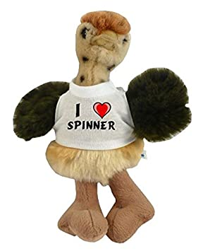 Avestruz personalizado de peluche (juguete) con Amo Spinner en la camiseta (nombre de