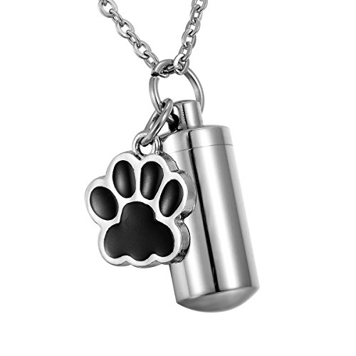 (HooAMI Pet Dog Paw Charm & Cylinder Memorial Urn Necklace Stainless Steel Cremation Jewelry,Black Silver)