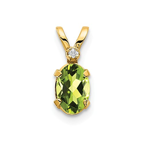 14k Yellow Gold Diamond Green Peridot Birthstone Pendant Charm Necklace August Oval Fine Jewelry For Women Gift Set (Gold Cat Charm Yellow)