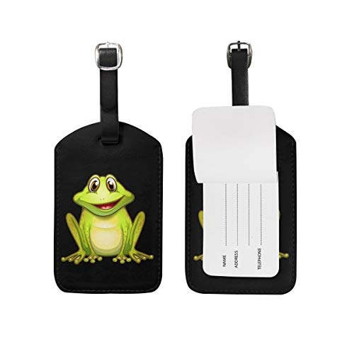Luggage Tag with Full Privacy Cover Frog PU Business Card Holder for Baggage Bag Name Address ID Label Travel Identifier Accessories