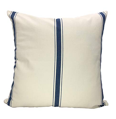 ArtiFab Cushion of Size 18X18 Inch, 100% Cotton, Blue Stripe Decorative Pillow Cover, Design Throw Pillows for Sofa